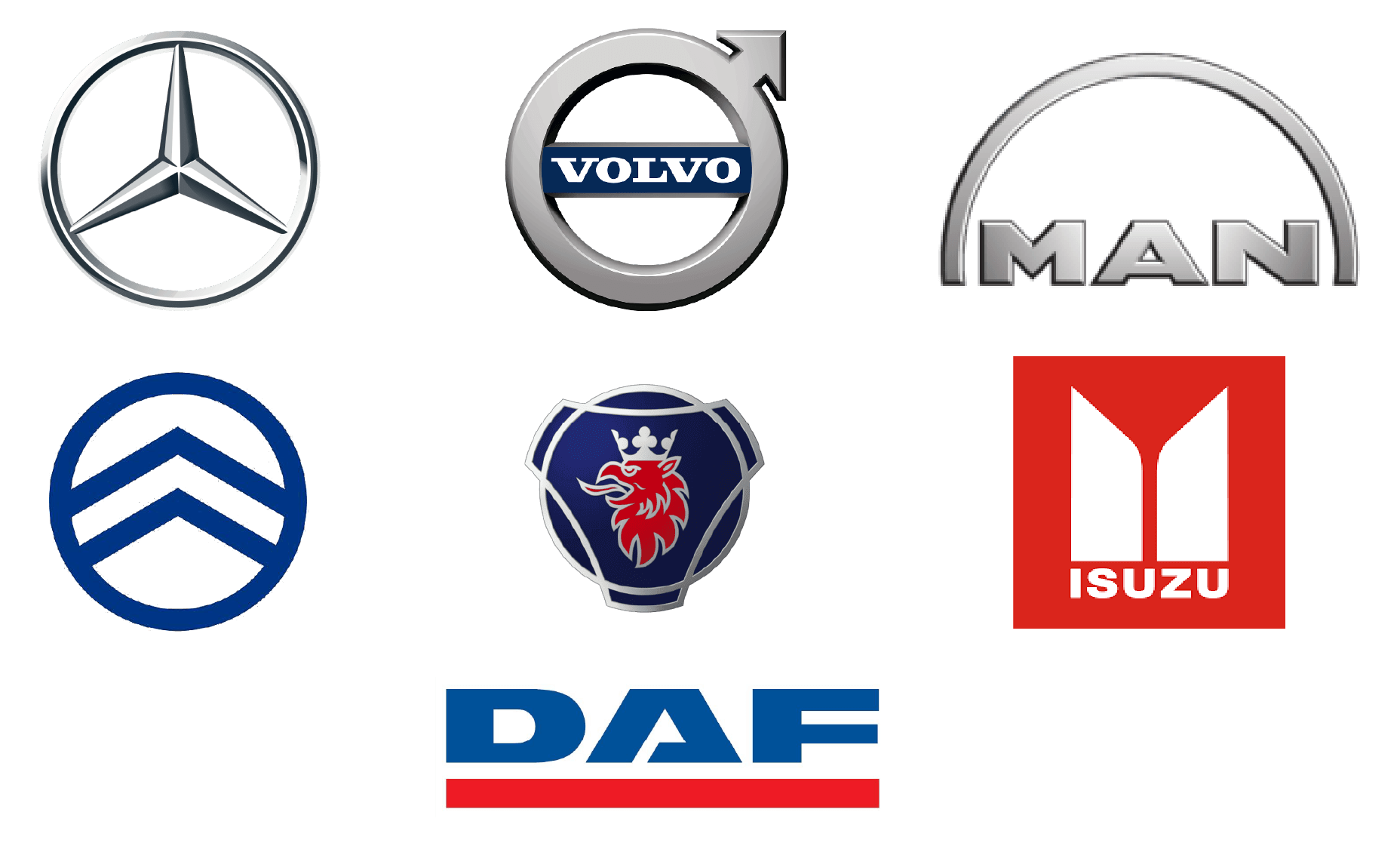 קבוצת מילניום - לוגואים של חברות משאיות שמילניום נותנת להם שירות MAN, DAF, ISUZU, MERCEDES, SCANIA.
